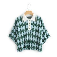 mujeres de polo a cuadros al por mayor-Polos de mujer Casual de lujo 2019 Diseñador de la marca Plaid Mujer Verano Nueva camisa Polo de manga corta Ropa de mujer suelta