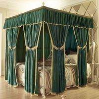 mosquiteiro de três portas venda por atacado-Rosa New Green Grey Europeia Palace Estilo de luxo de três Open Door Palace Mosquito Net Bed Set Valance decoração do quarto de cama