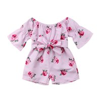 Wholesale pretty clothing resale online - Cute Pretty Toddler Kids Baby Girl Romper Floral Sunsuit Playsuit Clothes Cotton O neck Romper Baby Clothes Coverall