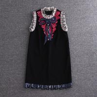 bordado de encaje negro al por mayor-Vestido bordado de calidad Diseñador de marca Vestido de encaje blanco negro con bordado Verano Elegante Lujo Arco Vestidos de lentejuelas
