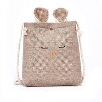 kleine nylon-tunnelzugtaschen großhandel-Harajuku Pop Baumwolle Leinen Geschenk Tasche Reise Kordelzug Aufbewahrungsbeutel Kleinigkeiten Kleine Strahl Seil Beutel Handgemachte Süßigkeiten Tasche Katzen