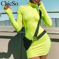 açık yeşil elbiseler kadınlar toptan satış-MissyChilli Floresan yeşil kalem bodycon elbise Kadınlar uzun kollu kısa neon ışık kırmızı elbise Kadın spor kulübü siyah
