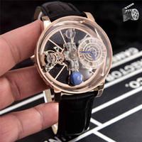 relógios de couro venda por atacado-Moda relógio de luxo mens designer relógios homem movimento de quartzo relógios de pulso preto azul pulseira de couro real orologio di lusso