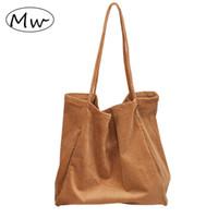tipos de bolsas de asas al por mayor-Luna de madera de pana gruesa bolsa de hombro de gran capacidad Casual Open Tote Bag Crossbody Bolsas para mujeres bolso de compras sac2019