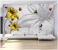 Wholesale chinese kitchen decorations resale online - 3D photo wallpaper custom d wall murals Nostalgic romantic flower butterfly love flower fashion living room wall decoration painting wall