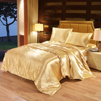 Wholesale quilt covers single beds for sale - Group buy 100 Satin Silk Bedding Set Luxury Queen King Size Bed Set Quilt Duvet Cover Linens And Pillowcase For Single Double Bedclothes