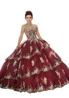üç tatlı kız toptan satış-Işlemeli Boncuklu Fırfır Quinceanera Elbiseler vestidos de 15 Yıl Kızlar Straplez Üç Katmanlar Etek Korse Geri Tatlı 16 Elbise Mezuniyet