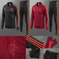 ingrosso pantaloni neri per gli uomini-2019 Flamengo Soccer Sweatershirt Pantaloni lunghi CRF Red Football Tuta 18 19 Flamengo RJ Training Top uomini Black V Collar Sports Suit