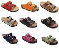 hakiki deri erkek sandalet toptan satış-Erkek Düz Sandalet Kadınlar Çift Toka Ünlü stil Arizona Yaz Plaj tasarım ayakkabı Orignal Kutusu Ile En Kaliteli Hakiki Deri Terlik