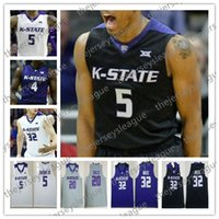 d34f5573f63 NCAA Kansas State Wildcats #5 Barry Brown Jr. 20 Xavier Sneed 32 Dean Wade  White Purple Black College Basketball Jersey S-4XL