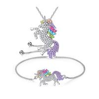 Wholesale bracelet pendant set online - unicorn bracelet necklace set diamond pendant children sweater chain jewellery girl gitfs Necklaces pendant kids toy party favor FFA1385