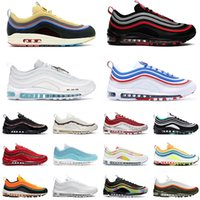 серебряный иезус оптовых-Nike air max 97 shoes airmax 97s Black Bullet Stock X MSCHF x INRI Jesus running shoes men women 97s Reflective Bred Red Leopard triple black sports sneakers 36-45