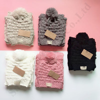 Wholesale womens crochet beanie resale online - Luxury Designer Hat and Scarf Set Womens Girls Braided Knitted Beanies Pompom Gorro with Tag U G Brand Caps Scarves Suits set C91007