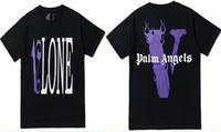 x männer kleidung großhandel-Vlone x Palm Angels T-Shirt Männer Frauen T-Shirt Harajuku T-Shirt Hip Hop Streetwear Marke Sommer Baumwolle Kleidung Tees Tops Lila Rot Gedruckt