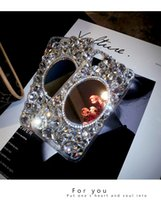iphone shell diamante vermelho venda por atacado-Espelho de strass Apple X telefone móvel shell personalidade feminina criativo diy new vivo luxo líquido vermelho diamante completo