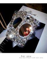 iphone shell diamant rouge achat en gros de-Strass miroir Apple X téléphone mobile shell personnalité féminine bricolage créatif nouvelle luxe in vivo net plein diamant