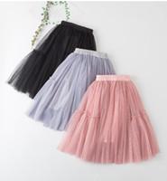 gri çocuklar tutu etekleri toptan satış-2019 Yaz yeni kızlar dantel tül tutu etek çocuklar fırfır dantel tül elastik prenses etek çocuk günü partisi etek gri pembe siyah F6127