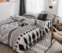набор постельных принадлежностей оптовых-Nordic стиль флис постельных принадлежностей 4 шт листья геометрические пододеяльник набор с наволочка Полный размер