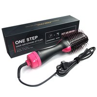 secador de cabelo multifuncional venda por atacado-2 em 1 Multifuncional Secador de Cabelo Rotativo Escova de Cabelo Rolo Girar Styler Comb Styling Alisamento Curling Ferro pente de ar quente