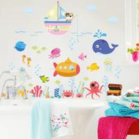 ingrosso adesivi di arte del bagno-adesivi murali bolla di pesce subacquea per bambini camere bagno camera da letto home decor cartoon animali stickers murali fai da te arte murale