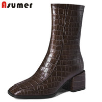 Wholesale brown boot dress shoes resale online - ASUMER Newest genuine leather ankle boots women square toe autumn winter boots solid colors high heels dress shoes ladies