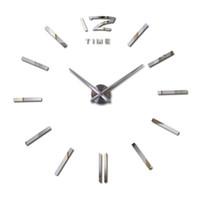 horloge acrylique d'expédition gratuite achat en gros de-En gros-2016 hot new real 3d bricolage décoration Quartz Salon acrylique miroir montre horloges horloge stickers muraux livraison gratuite