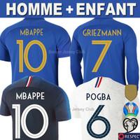 xxl uzun kollu gömlek toptan satış-Fransa futbol formaları GRIEZMANN MBAPPE POGBA 100th yıldönümü 100 yıl 2019 Uzun Kollu forması DEMBELE KANTE PAVARD UMTITI Tayland Erkekler Çocuklar Kadınlar gömlek Üniformalar