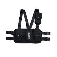 bolsa de bolso multifuncional venda por atacado-Saco de cintura preta pacote de bolso multi-bolso Hip Hop Streetwear funcional peito tático saco Kanye West novo