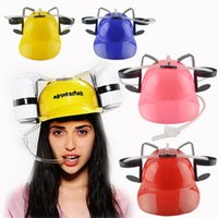 Wholesale plastic unique online - Beer Helmets Drink Straws Caps Creative Adjustable Holder Unique Party Game Plastic Colors Mix jd F1