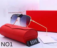 óculos de sol polaroid feminino venda por atacado-Mens mulher óculos de sol designer óculos de sol de luxo designer de vidro adumbral óculos uv400 modelo 5200 6 cores opcional alta qualidade com caixa