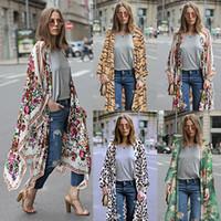 uzun şifon hırka toptan satış-Zarif Çiçek baskılı kimono bluzlar gömlek kadın moda uzun hırka yaz rahat plaj bohem şifon bikini mayo kapak ups tops