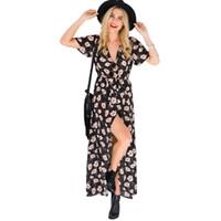 elbise çiçek polyester toptan satış-Kadın Elbiseler V Yaka Kısa kollu Bölünmüş Çiçek Elbiseler Lady Yaz Tatil Plaj Etek Kız Rahat Bohemian Şifon Uzun Elbiseler 14 renkler