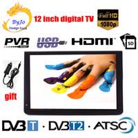 araba dvb toptan satış-LEADSTAR D12 12 inç LED TV Dijital Çalar AC3 DVB-T T2 ATSC Analog Dijital Taşınabilir TV Desteği HDMI USB TF TV programları Araç şarj hediye