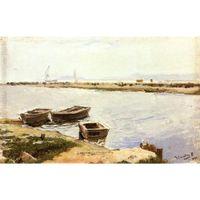 три картины оптовых-Ручная роспись картины Хоакина Сорольи и Бастиды Три лодки у берега
