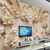 kabartma duvar kağıdı toptan satış-Özel 3D Duvar Duvar Kağıdı Phalaenopsis Kabartmalı Arkaplan Duvar 3D Kumtaşı Rölyef Duvar Salon Koltuk Yatak Duvar Kağıdı