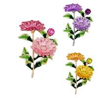 ingrosso spille fiore gialle-Smalto giallo viola rosa crisantemo fiore spilla verde foglia girasole spille perni corsage gioielli