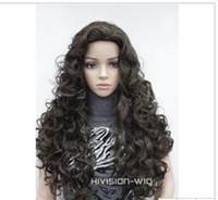 peruk tam kıvırcık toptan satış-PERUK ÜCRETSIZ NAKLIYE Sıcak isıya dayanıklı Parti hairFashion Koyu Kahverengi Uzun Spiral Bukleler Kadınlar Bayanlar Günlük Tam Saç peruk