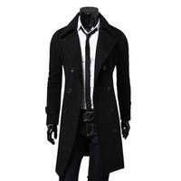 мужское пальто черное модное пальто оптовых-NEW Fashion  Autumn Jacket Long Trench Coat Men Top Quality Slim Black Male Overcoat Mens Khaki Coat trenchcoat Windbreaker