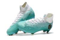 zapatos cr7 blancos al por mayor-Nueva caliente Blanco Azul Niños Tacos de fútbol Mercurial Superfly VI 360 Elite FG CR7 fuera 100% originales zapatos de fútbol para niños Mujeres Botas de fútbol