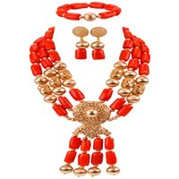 afrikanische korallenhalsketten großhandel-Ziemlich African Coral Beads Halskette Schmuck Set für Frauen Nigerian Hochzeit Brautschmuck Sets CBS42