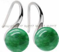 ingrosso pietra preziosa di giada verde-Orecchino d'argento a gancio con gemme naturali JADE naturali rotonde verdi 10mm