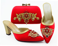 handbag red point 2021 - Gorgeous red women dress shoes match handbag set with rhinestone and metal decoration african pumps and bag QSL009,heel 9CM