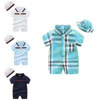 Wholesale suit hats resale online - Baby Plaid Rompers Set Infant Baby Cotton Striped Jumpsuits Kids Lersure Boy Autumn Romper Suit Toddler Boy Pocket Onesies With Hat