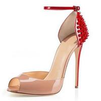 düğme g toptan satış-Kadınlar Yeni Moda Patent Yüksek Topuklu Elbise Ayakkabı Seksi Balık ağzı Yüksek topuklu Sandalet Stiletto Perçinler ile Düğmeler Sandalet 10 cm AB 34 42