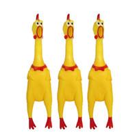 evcil hayvan çiğneme oyuncakları toptan satış-17 * 4 cm Çocuk Oyuncakları Eğlenceli Çığlık Tavuk Kauçuk Sarı Küçük Pet Cızırtılı Oyuncak Chew Sıcak Satış 0 83gy kk