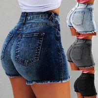 женские короткие джинсы оптовых-Леди скинни короткие джинсы женские джинсы с высокой талией Slim Fit джинсовые шорты Slim Denim прямые байкерские джинсы скинни плюс размер LJJA2794