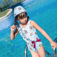 kleine kinderbadebekleidung großhandel-2019 Kinder einteilige Anzüge Bikini Set Kinder Baby Mädchen Bowknot Little Turtle Bademode Badeanzug Badeanzug Kostüm Kleidung