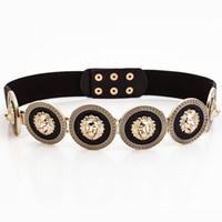 tecido flor faixa venda por atacado-Golden Waist Belts Fashion Women's Party Metal Wide high quality Waistband Female Luxury Designer Ladies Elastic Belt For Dress