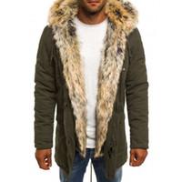Winter Männer Parka Winddicht Fell Kapuze Schwarz Armee Grün Dunkelblau Mode Kühlen Reißverschluss Warme Männer Parka Jacke Mäntel Plus Größe
