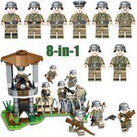 ingrosso assemblaggio di mattoni-WW2 Seconda Guerra Mondiale Esercito tedesco Fronte di ferro Battaglia militare Building Block Soldato di mattoni Toy Assembly Figure